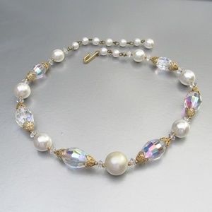 Jewelry - Vintage Crystal Bead /Faux Pearl Wedding Necklace